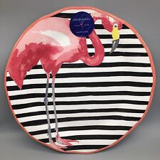 "Cynthia Rowley Pink Flamingo Oversized 19"" Serving Platter Tray MELAMINE Stripe"