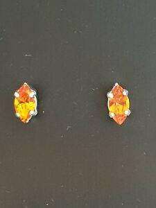 Beautiful Small Navette Stud Earrings using Swarovski Tangerine. Made in UK