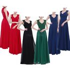 Lady V Neck Bridesmaid Dress Lace Long Evening Prom Cocktail Formal Wedding Gown