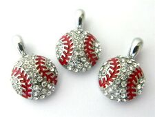 10pc Crystal Sport Baseball Hang Pendant Charms DIY Necklace/Collar/Bracelet New