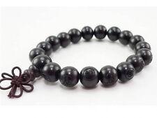 "Long Tibetan 18 12mm Black Sandalwood Carved Buddha Prayer Bead Mala Bracelet 7"""