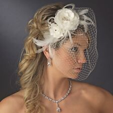 Feather Rose Fascinator Birdcage Bridal Veil Wedding Hair Comb White or Ivory