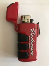 new Vtg BUDWEISER BUD lighter case add 2 Keychain Red Flip Top
