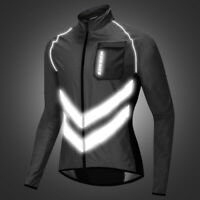 Reflective Cycling Jacket Mens Vest MTB Bike Jersey Breathable Coat Windproof