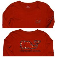 VINEYARD VINES Long Sleeve T-Shirt Christmas Lights Whale Red Men's Small S