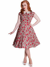 Hell Bunny 1940's Vintage Style Apple Print Dress With Crochet Collar XS UK 8
