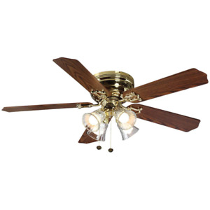 Ceiling Fan LED Light Kit Indoor Flush Mount Polished Brass Finish 52 in