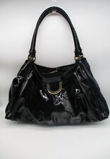GUCCI Black Patent Leather D Ring Large Hobo Bag