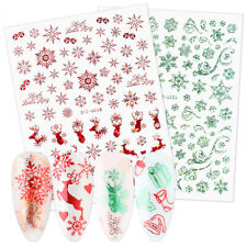 Green Red Stickers Nails 3D Snowflake Slider Christmas New Year Gift Nail Foil
