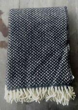 Klippan Sweden 100% Wool Blanket Black and White Herringbone - New