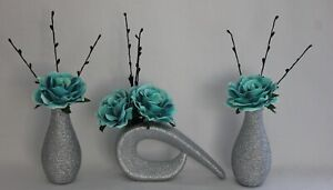 NEW, HANDMADE ARTIFICIAL (SET OF 3) SILK TEAL ROSES, IN SILVER GLITTER VASES,