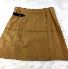 Ideology Womens Size 10 Tan Leather embossed Patch Stitched Skirt NWT