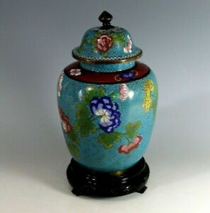 Old Chinese Lidded Cloisonne Urn with Stand B