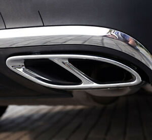 Mercedes Benz AMG Exhaust Pipe Cover Trim Stainless Steel A B C E GLC GLE 2pcs