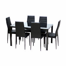7 Piece Glass Top Metal Dining Set Kitchen Table Chairs Furniture Black