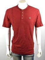 True Religion Brand Jeans $89 Men's Raw Edge Waffle Henley Shirt Top 100453 Sz S