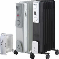 7/9 Fin Oil Filled Portable Electric Radiator Heater Adjustable Thermostat Timer