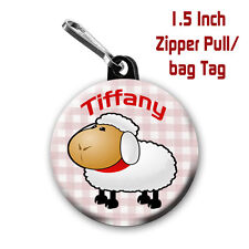 2 Personalized 1.5 Inch Lamb Zipper Pull/Bag Tags with Name of choice