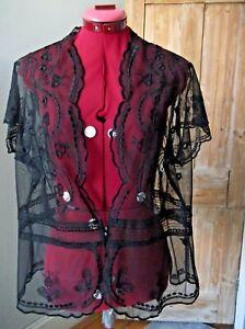 Ladies black mesh/lace sheer cap sleeve cardigan, size 14-16 Marks & Spencer