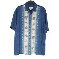 Island Shores Men Hawaiian Shirt Size L Blue Palm Trees Short Sleeve