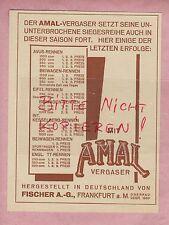 FRANKFURT/MAIN, Werbung 1932, Fischer AG AMAL-Vergaser, Beiwagen-Rennen