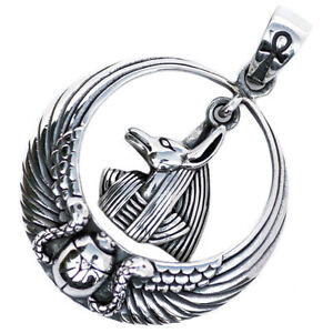 Anubis Egyptian Pendant Sterling Silver Winged Sun Scarab Ankh P060