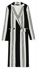 ZARA Black White Long Striped Linen Blend Lined Trench Coat Size M