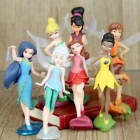 7 Pcs Set Tinker Bell Fairies Princess PVC Figure Model Doll Play Cake Toppers