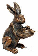 "Resin Bronze Colored Rabbit Bird Feeder Home Garden Decor 13.75"" New T7146"