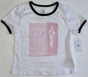 VOLCOM Girl's White Pink Medium 8 / 10 T-Shirt Short Sleeve Crew HEY SLIMS New