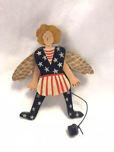 1996 NANCY THOMAS PAINTED WOOD FOLK ART Parotic Fairy Moveable RARE