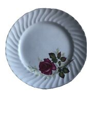 """Vintage Ridgway Made in England Ironstone Anniversary Rose 8"""" Plate"""