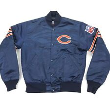 VTG 80s Chicago Bears Starter Satin Jacket Quilted Pro Line Navy Blue • Small