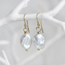 Original Baroque Irregular Pearl Gem Rose Gold Plated Hook Dangle Earrings Women