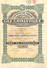 Compagnie Belge du Gaz Catalytique SA, parte de fundador, 1922