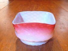 RARE HTF Antique Phoenix Cased Cranberry Diamond Quilted Square Bowl