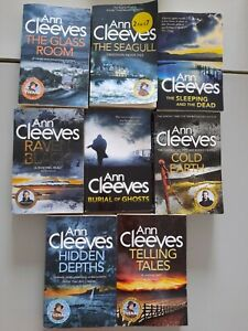ANN CLEEVES book bundle x8 burial of ghosts, RAVEN BLACK, cold earth, GLASS ROOM