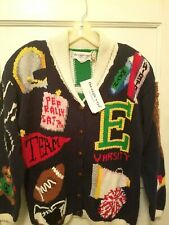 Nwts $147 Eagle's Eye Collection Ladies Sz Large Pep Rally Cardigan Sweater
