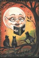 LE 4x6 HALLOWEEN POSTCARD 3/200 RYTA BLACK CAT MAGIC MOON AUTUMN STORIES ART