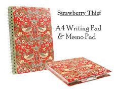 Strawberry Thief da William Morris | Arte A4 FODERATO Scrittura Pad & Memo Pad Set di penne