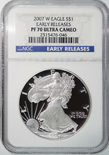 2007 W Silver American Eagle NGC PF70 PF-70 Proof Early Release