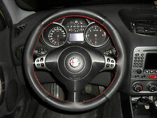 STEERING COVER suitable ALFA ROMEO GT black leather PERFORATED RED STITCHING