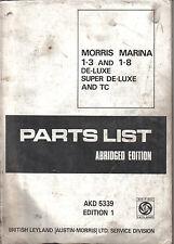 Morris Marina 1.3 & 1.8 original Abridged Parts List AKD 5339 1971 cover missing