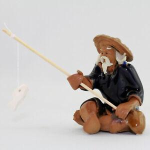 """Bonsai Figur Deko Keramik """"Angler"""", Tonfigur Bonsaifigur, kleiner Deko-Angler L"""