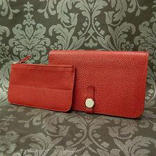 Rise-on HERMES Des Gonds Dogon GM Red Leather Bifold Wallet Long Purse #5