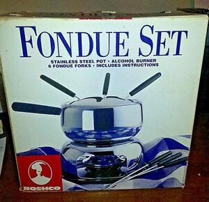 Roshco Fondue Set Stainless Steel Alcohol Burner