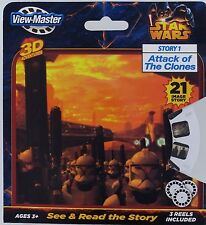 """STAR WARS View-Master 3D Adventure 3 Reels Story 1 """"Attack of the Clones"""" NEW"""