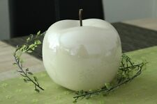Deko Apfel 16cm Keramik weiß creme glasiert glänzend Objekt Dekoapfel Figur Obst