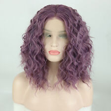 Medium Brazilian Women Mixed Purple Lace Front Wig Daily 14 Inches Fluffy Curly