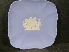 "Wedgwood Blue & White Jasperware Square Pin Tray Greek 4 1/4"""